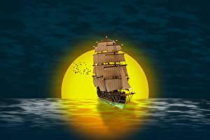 Фотографии Рассвет и закат Корабли Парусные Солнца 3D Графика