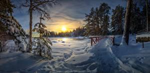 Картинки Рассветы и закаты Зима Мосты Снег Тропа Деревья Природа