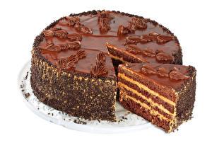 Картинки Сладкая еда Торты Шоколад Белым фоном Пища