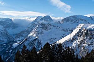 Фото Швейцария Горы Зимние Снег Braunwald