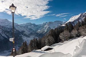 Обои Швейцария Зимние Горы Снега Уличные фонари Ель Braunwald Природа