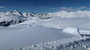 Фото Швейцария Зима Горы Снег Альпы Pontresina Природа