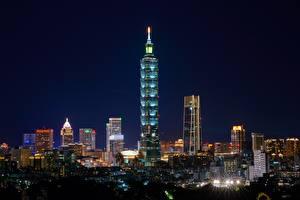 Фото Тайвань Тайбэй Небоскребы В ночи Города