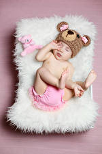 Обои Плюшевый мишка Цветной фон Грудной ребёнок Шапка