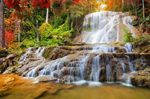 Фотографии Таиланд Парки Водопады Осенние Mae Kae Waterfall Lampang Природа