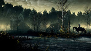Картинка The Witcher 3: Wild Hunt Лес Лошади Деревьев Тумана компьютерная игра