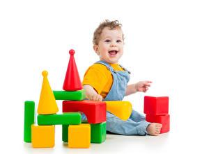 Фото Игрушка Белым фоном Младенец Радость ребёнок