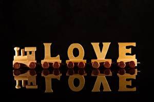 Фото Поезда Любовь Черный фон Из дерева Инглийские Отражении