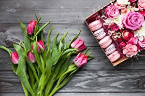 Обои Тюльпаны Макарон Цветы Еда