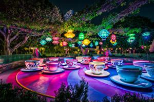 Фото Штаты Парк Диснейленд Калифорнии Анахайм Дизайна Чашке Ночные Природа