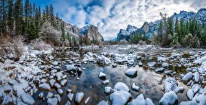Фото Штаты Парк Горы Камни Зимние Пейзаж Йосемити Снег Природа