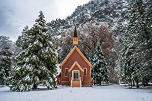 Фотографии Штаты Парк Зима Здания Йосемити Ели Деревья Снег Природа