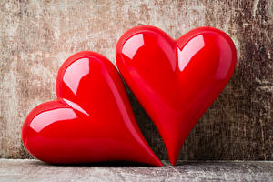 Фотография День святого Валентина Крупным планом Две Серце