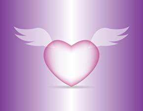 Фото День всех влюблённых Цветной фон Сердце Крылья