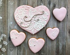 Картинки День всех влюблённых Печенье Доски Дизайн Сердце Розовый Продукты питания