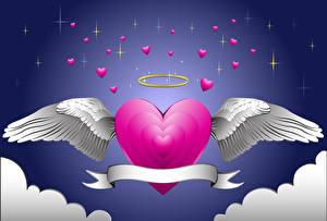 Фотография День святого Валентина Сердце Крылья 3D Графика