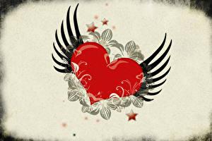 Картинка День всех влюблённых Сердечко Крылья Звездочки