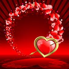Обои День святого Валентина Сердца Стрела Красная