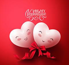 Картинки День всех влюблённых Красном фоне Английский Серце Двое Бантик