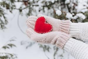 Картинки День всех влюблённых Снег Руки Варежки Сердце