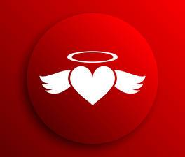 Фотография День всех влюблённых Векторная графика Красный фон Сердечко Крылья