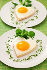 Картинки Овощи Тарелка Яичница 2 Сердце Дизайн Пища