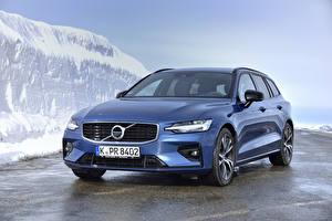 Картинка Вольво Синяя 2018-19 V60 D3 R-Design Worldwide машина