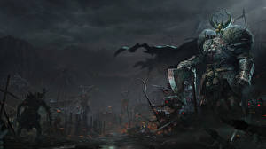 Обои Воин Чудовище Warhammer 40000 Броня Рога компьютерная игра Фэнтези