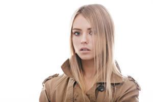 Фотографии Белый фон Блондинка Смотрит Девушки
