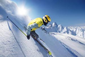 Обои Зима Лыжный спорт Снег Шлем Едущий