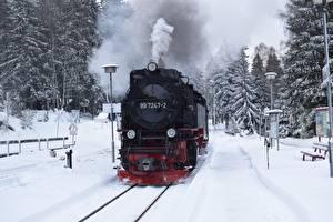 Фотография Зима Поезда Железные дороги Снег Дымит