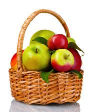 Картинка Яблоки Белый фон Корзинка Продукты питания