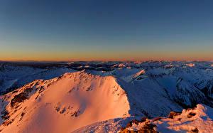 Картинки Австрия Горы Зимние Альпы Снег Styria Природа