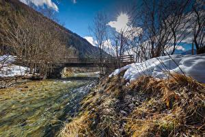 Обои Австрия Зима Реки Мост Снегу Kohlenbach Tyrol Природа