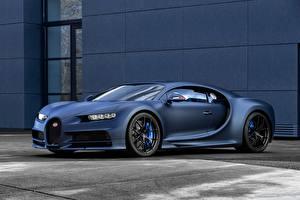 Обои BUGATTI Синий Chiron 110 ans Автомобили картинки