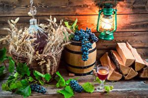 Обои Бочка Виноград Вино Доски Фонарь Бокалы Колос Продукты питания