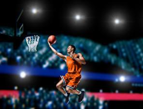 Картинка Баскетбол Мужчины Прыжок Мяч Униформа