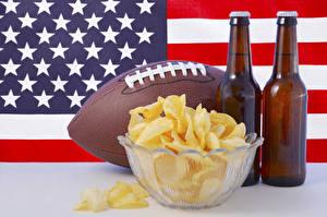 Обои Пиво Америка Флага Мяч Бутылки Чипсы Продукты питания