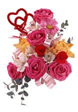 Картинка Букеты Розы Альстрёмерия Белый фон Сердце цветок