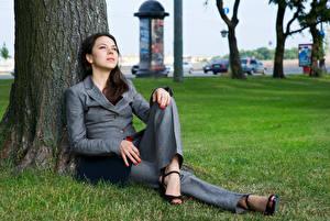 Картинки Брюнетка Сидящие Ствол дерева Взгляд Костюм молодая женщина