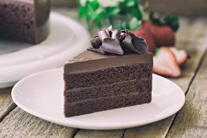 Фотография Торты Шоколад Кусок Тарелке Пища