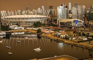 Фото Канада Дома Пристань Ванкувер Залив город