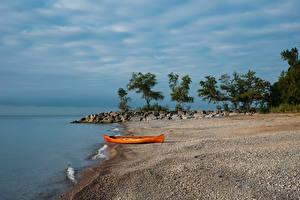 Обои Канада Озеро Берег Лодки Камни Торонто Lake Ontario Природа