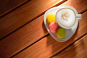 Фото Капучино Кофе Доски Чашка Макарон Еда