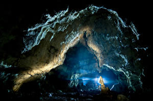 Обои Пещера Скала Природа картинки