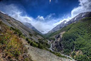 Фотография Чили Парки Горы Ручеек Torres del Paine National Park Природа