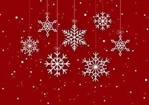 Фото Новый год Красный фон Снежинка