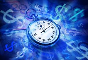 Фотографии Часы Доллары Карманные часы