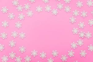 Картинки Цветной фон Снежинки Шаблон поздравительной открытки