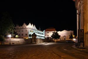 Фотографии Чехия Здания Улице В ночи Уличные фонари Litomysl Города